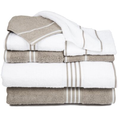 8 Piece Egyptian-Quality Cotton Towel Set Color: White / Taupe