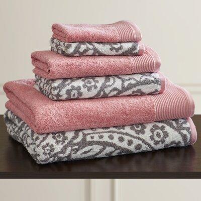 6 Piece 100% Cotton Towel Set Color: Gray / Pink