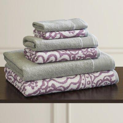 6 Piece 100% Cotton Towel Set Color: Mauve / Gray