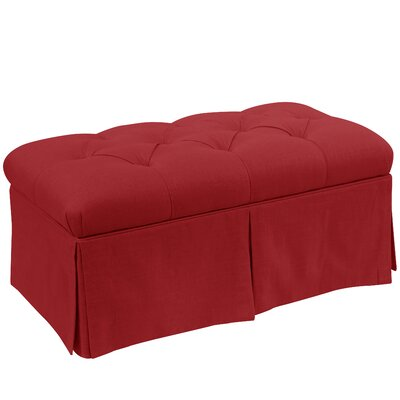 Craven Tufted Linen Skirted Storage Bench Color: Antique Red