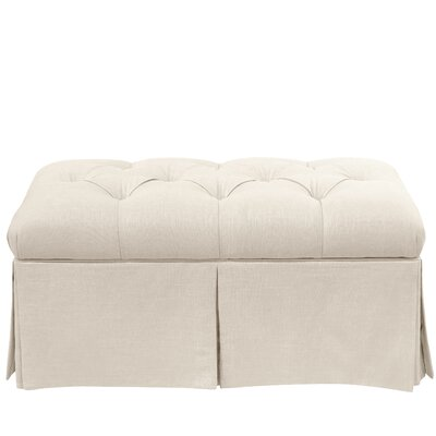 Craven Tufted Linen Skirted Storage Bench Color: Talc