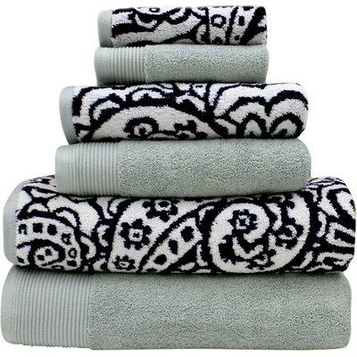 6 Piece 100% Cotton Towel Set Color: Black / Gray