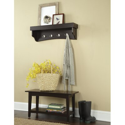 Bel Air -Piece Hall Tree Coat Hook and Bench Set Color: Chocolate