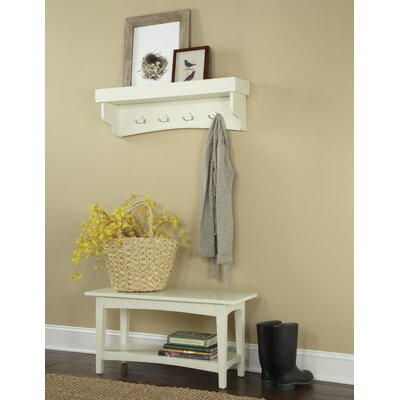 Bel Air -Piece Hall Tree Coat Hook and Bench Set Color: Ivory