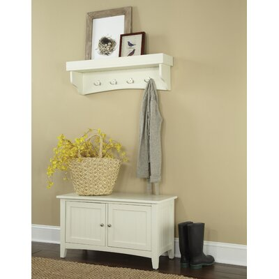 Bel Air 2 Piece Hall Tree Coat Hook and Cabinet Set Color: Ivory