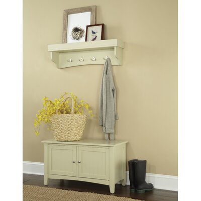 Bel Air 2 Piece Hall Tree Coat Hook and Cabinet Set Color: Sand