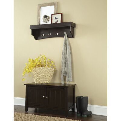 Bel Air 2 Piece Hall Tree Coat Hook and Cabinet Set Color: Chocolate