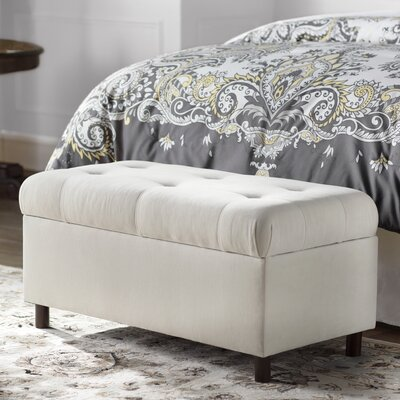 Regal Upholstered Storage Bench Color: Antique White