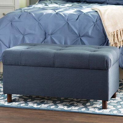 Henrietta Tufted Linen Storage Bench Color: Navy