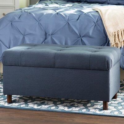 Henrietta Tufted Linen Storage Bench Color: Navy