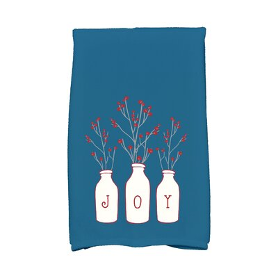 Pena Holiday Wishes Joy Hand Towel Color: Teal