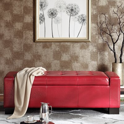 Valerie Upholstered Storage Bench Color: Red