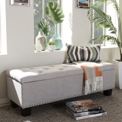 Back Bay Upholstered Storage Bench Upholstery Color: Grayish Beige