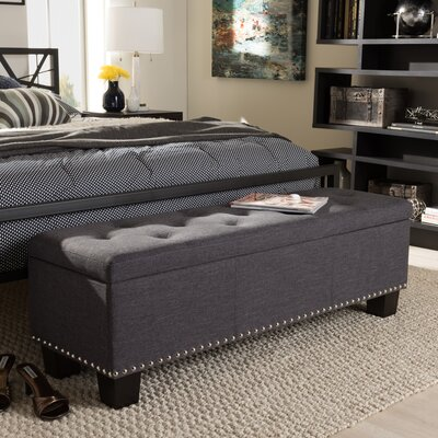 Back Bay Upholstered Storage Bench Upholstery Color: Dark Gray