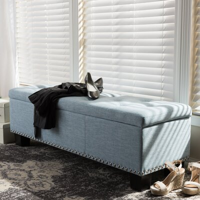 Back Bay Upholstered Storage Bench Upholstery Color: Light Blue
