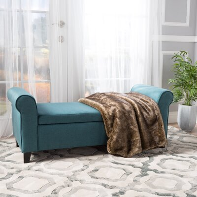 Varian Upholstered Storage Bench Upholstery: Dark Teal