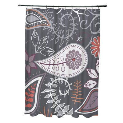 Orchard Lane Polyester Paisley Floral Shower Curtain Color: Gray