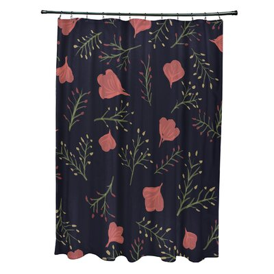 Orchard Lane Polyester Spring Blooms Floral Shower Curtain Color: Navy Blue