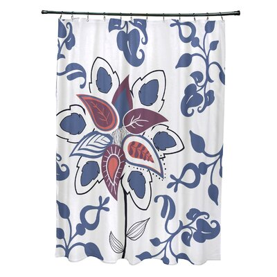 Orchard Lane Polyester Paisley Pop Floral Shower Curtain Color: Blue
