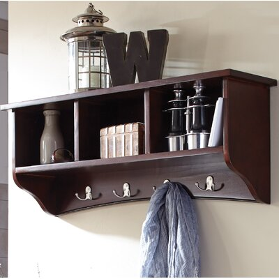 Bel Air 8 Hook Storage Shelf Color: Espresso
