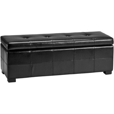 Catherine Faux Leather Storage Bench Color: Black