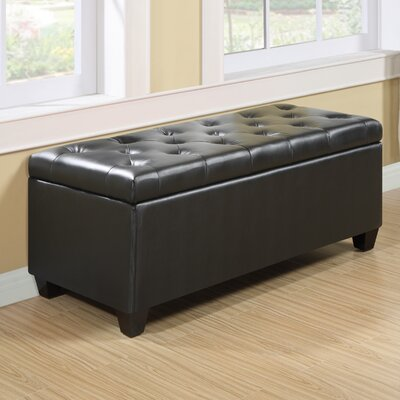 Charlotte Leather Storage Bench Color: Black