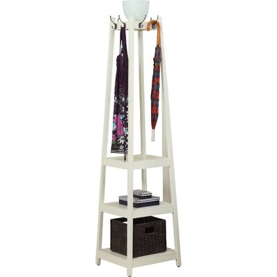 Clark Storage Shelve Coat Rack Finish: White
