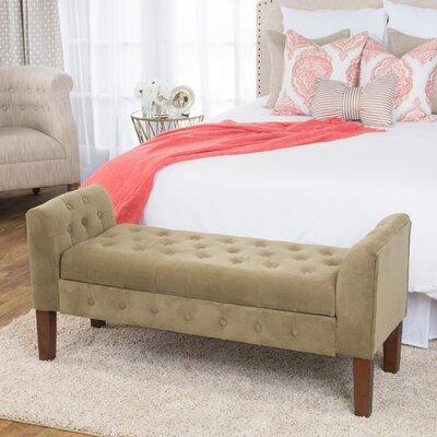 Oakham Upholstered Storage Bench Color: Tan