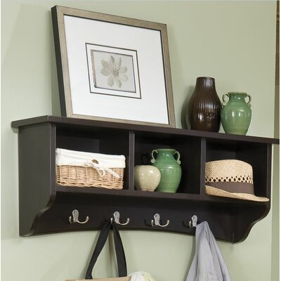 Bel Air 8 Hook Storage Shelf Color: Chocolate