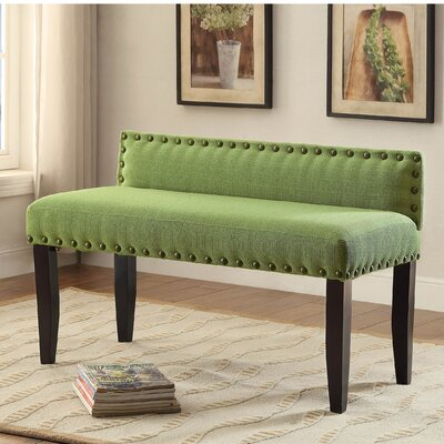 Faiths Upholstered Bench Size: Large, Upholstery Color: Green