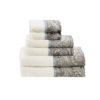 Pokanoket Jacquard 6 Piece 100% Cotton Towel Set Color: Blue