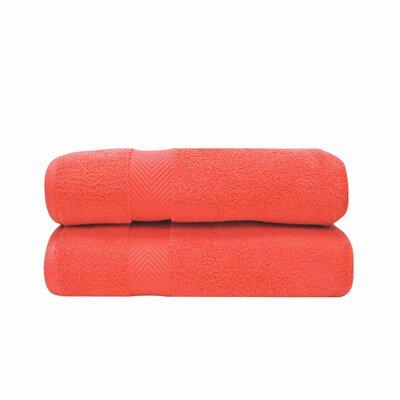 Zero Twist Bath 100% Cotton Bath Towel Color: Coral