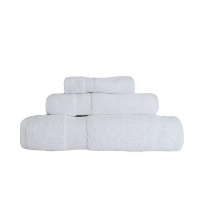 Zero-Twist 3 Piece 100% Cotton Towel Set Color: White