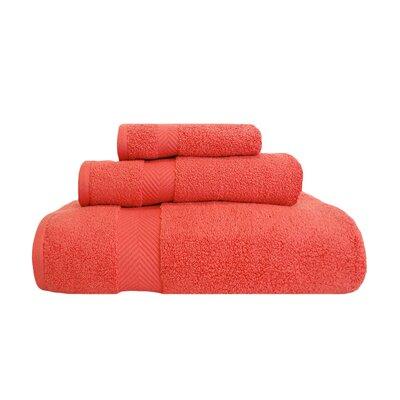 Zero-Twist 3 Piece 100% Cotton Towel Set Color: Coral
