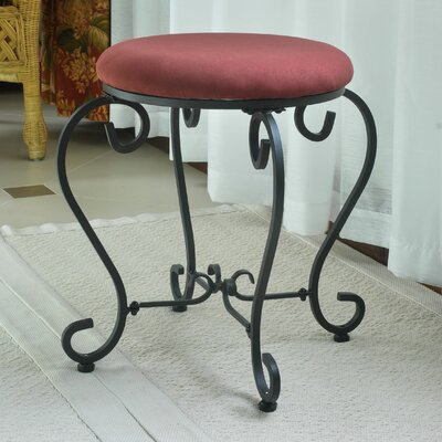 Steffes Round Iron Vanity Stool Color: Red Wine