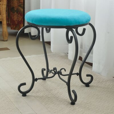 Steffes Round Iron Vanity Stool Color: Aqua Blue