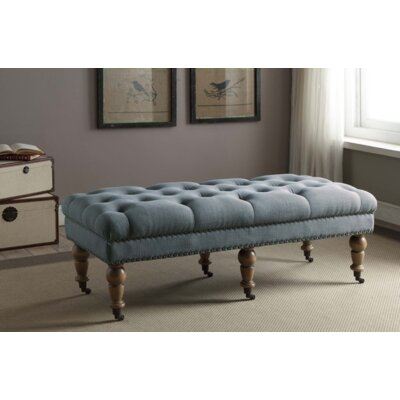 "Sands Upholstered Bench Size: 50"" W x 19.69"" D x 17.72"" H, Upholstery: Air-Force Blue, Nailhead Detail: Brushed Silver"