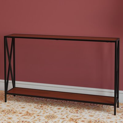 Abbottsmoor Metal Frame Console Table Color: Black/Cherry