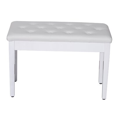 Criss Piano Upholstered Storage Bench Color: White