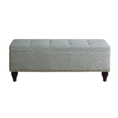 """Darrah Upholstered Storage Bench Size: 18"""" H x 45"""" W x 18"""" D, Upholstery: Gray"""