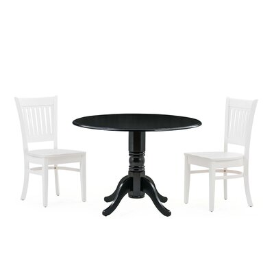 Reidy 3 Piece Drop Leaf Dining Set Table Color: Cherry/White