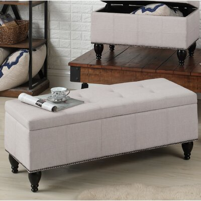 """Darrah Upholstered Storage Bench Size: 18"""" H x 45"""" W x 18"""" D, Upholstery: Beige"""