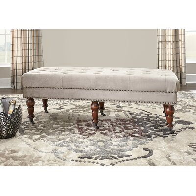 "Sands Upholstered Bench Size: 50"" W x 19.69"" D x 17.72"" H, Nailhead Detail: Burnished Bronze, Upholstery: Mink"