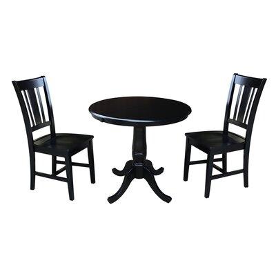 Politte 3 Piece Extendable Dining Set Finish: Black
