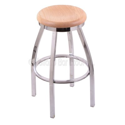 "Cragin 30"" Swivel Bar Stool Seat Finish: Natural Oak, Leg Finish: Chrome"