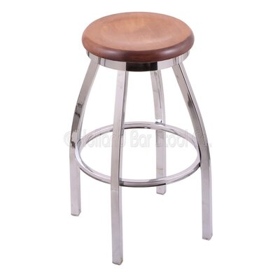 """Cragin 30"""" Swivel Bar Stool Seat Finish: Medium Maple, Leg Finish: Chrome"""