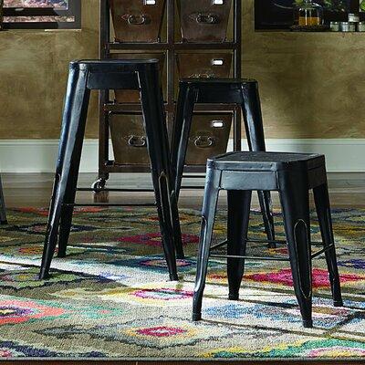 """Sandefur 24"""" Bar Stool (Set of 4) Upholstery: Black"""
