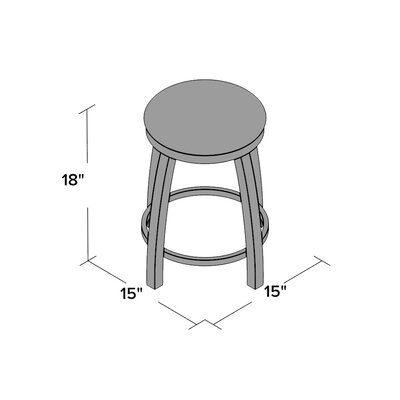 """Cragin 18"""" Swivel Accent Stool with Cushion Seat Color: Axis Denim, Frame Color: Chrome"""