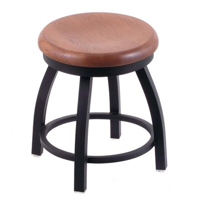 Cragin Vanity Stool Seat Finish: Medium Oak, Base Finish: Black Wrinkle
