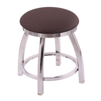 """Cragin 18"""" Swivel Accent Stool with Cushion Seat Color: Axis Truffle, Frame Color: Chrome"""